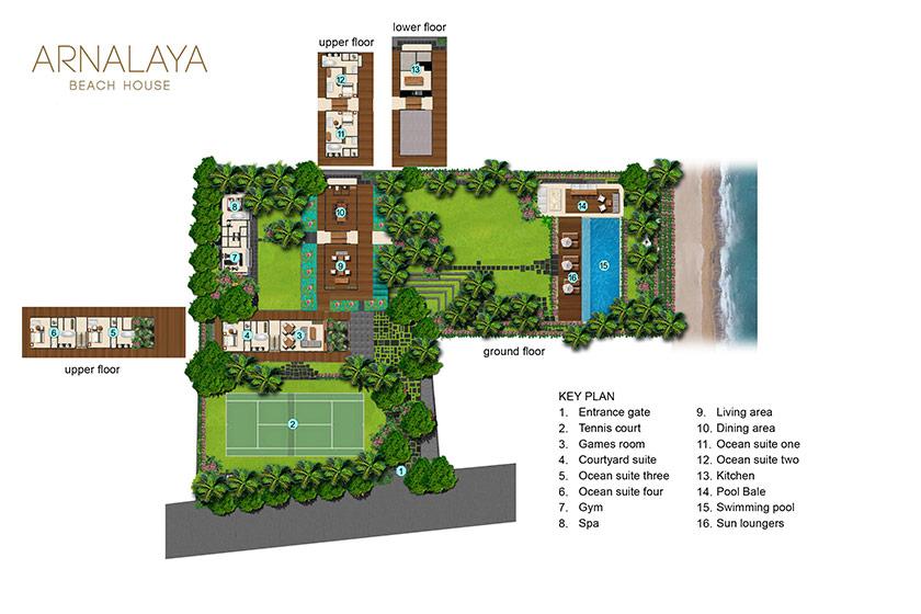 Arnalaya beach house 5 bedrooms beachfront villas bali for Beach villa plans