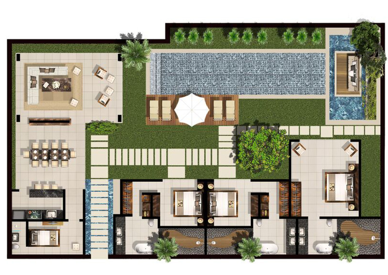 Villa chandra seminyak villas bali villa bali luxury for 2 bedroom villa floor plans